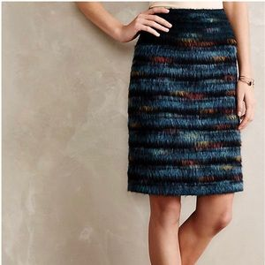 Anthropologie Maeve Feathered Wool Pencil Skirt